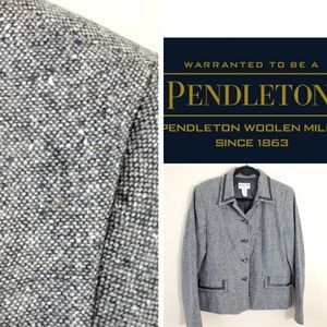 Pendelton Vintage Wool and leather trim blazer
